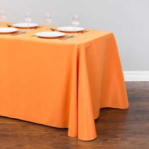 Zhongyue 90*132'' rectangular polyester tablecloth orange