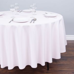 China modern style round polyester tablecloth light pink