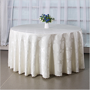 Wholesale 100%polyester jacquard flowers round hotel teblecloth