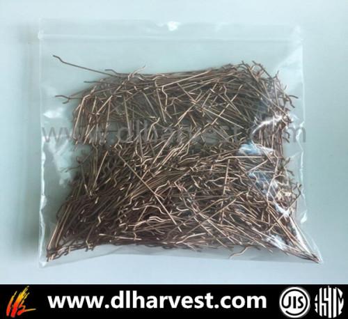 Resistencia a la tracción> Fibra de acero micro revestida de cobre de 2800MPa
