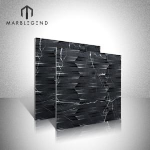 بلاط الجدران الرخامي الأسود غير القابل للتأكسد 3D Marquina