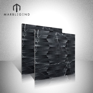 Durable And Non-fading Black Marquina 3D marble wall tiles