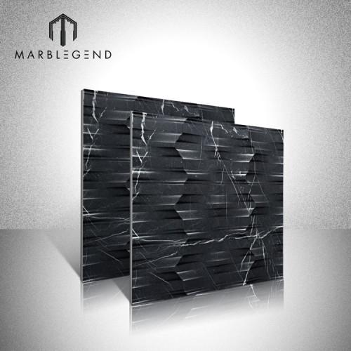 Revestimiento de pared en mármol negro y resistente Marquina 3D