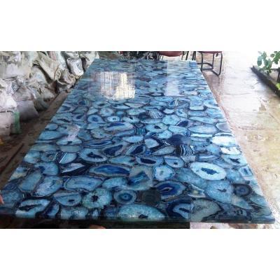 Pared de piedras preciosas y encimera Decor azul piedra de ágata proveedor chino