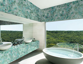Villa Green semiprecious quartz Bathroom Design