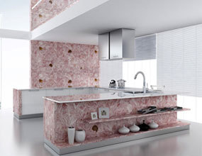 Luxury residence kitchen pink quartz countertop