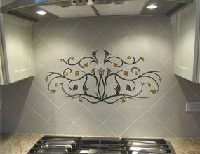 natural stone waterjet marble kitchen backsplash for villa