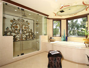 master bathroom home marble waterjet  wall design