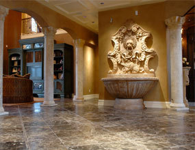 Mediterranean-Entry Marble Wall Fountain