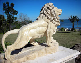 tropical exterior Natural Stone Carving decorative Lion animal sculpture