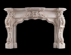 Hand Carved Flower Marble Fireplace