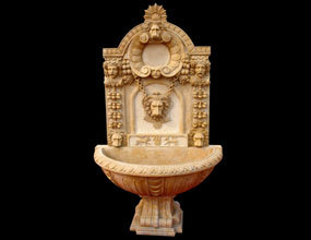 Lion Head Marble Wall Fountain