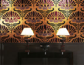 Golden Flower Patterns Design Glass mosaico de azulejos