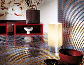 Stipe Metal Material Golden Mosaic Flooring Tile