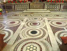 Stone Mosaic Tiles Pattern Cream Marble  Floor Tile