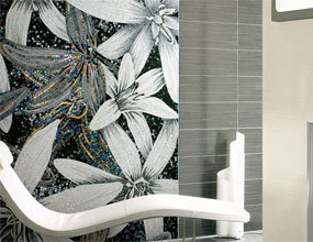 Bathroom Mural Design Golden Flower Crystal Glass Mosaic