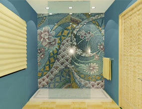 Blue Ideas For Shower Room Wall Tiles Decor Glass Mosaic