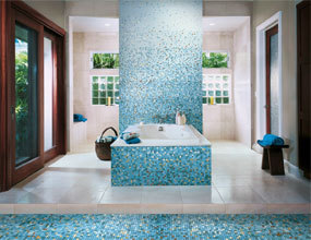 Modern Washing Room Decor Blue Glass Mosaic