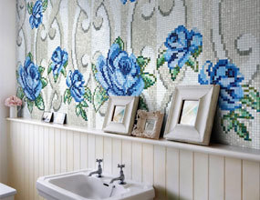 Shinging White Blue Flower Design Crystal Glass Mosaic