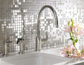 Natural Stone and Glass Mosaic Sheets Stainless Steel Backsplash Square Tiles Metal Tile Backsplash Wall Kitchen
