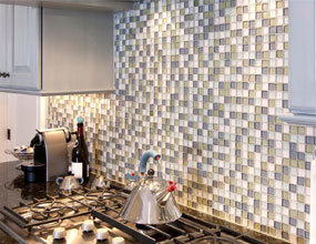 Stone Mosaic Tile Sheet Square Crystal Backsplash Crackle Mosaic Glass Tile Wall Sticker