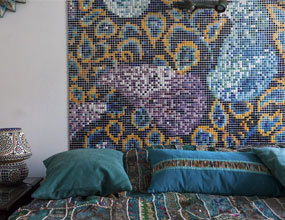 Eclectic Provence Style Interior Design Oriental Mosaic Tiles Headboard  Bedside Lamps Bed Linen