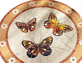Butterfly Pattern Mosaic Tile