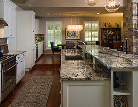 Azurite Granite Kitchen Countertop Traditional Kitchen Island