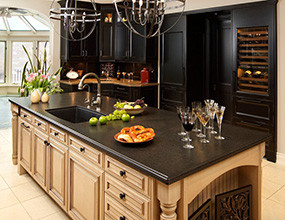 Black Pearl Granite Traditional Kitchen Island