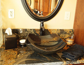 Magma Black Granite  Traditional-Bathroom vanitytop