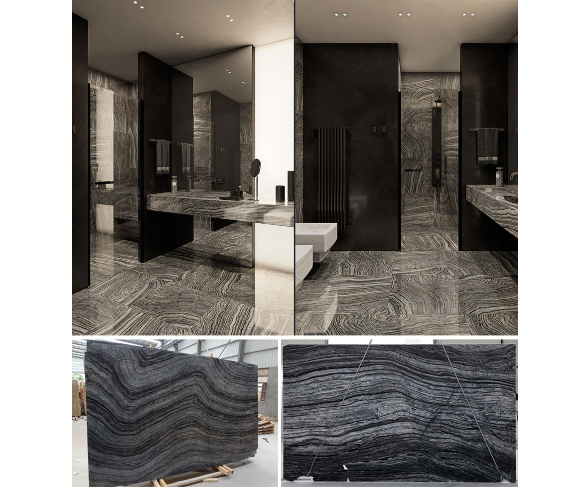 China Kenya Black Marble Ancient Wood Grey Marble Silver