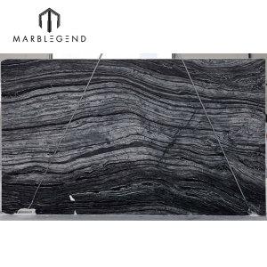 الصين كينيا الرخام الأسود القديمة الخشب الرمادي الرخام الفضة الموجة ألواح الرخام
