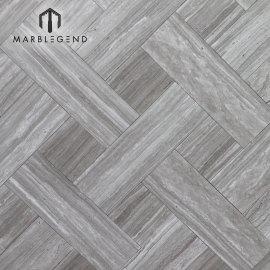 China Grano de madera Gris Vena de madera Mármol gris Mármol Serpeggiante Azulejos de suelo de mármol