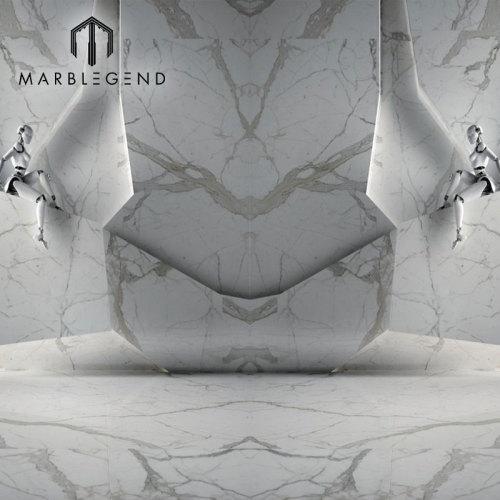 مختارات من طراز إيطاليا Calacatta Vagli Oro أرضية رخام أبيض وبلاط الحائط