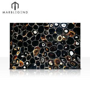 Las baldosas negras naturales retroiluminadas de las losas de ágata para la pared y la decoración de la encimera