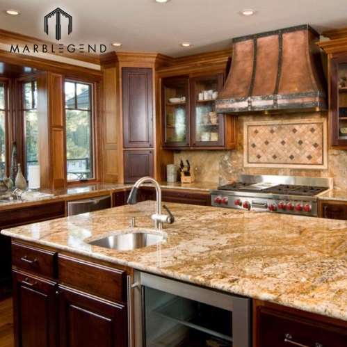 Pfm Granite Slabs Brazil Quarry Golden Persa Kitchen Countertops