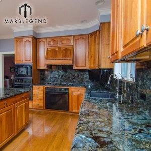 PFM Blue Labradorite Lemurian Granite Kitchen Countertops With Full Backsplash