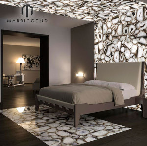 Translucent Crystal White Semi Precious Agate Stone Wall And Floor Tiles