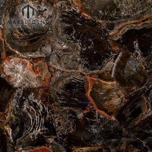 Backlit Semi Precious Jasper Stones Black Petrified Wood Gemstone Slabs Tiles