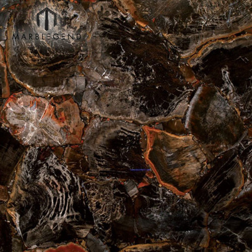 Azulejos semi preciosos retroiluminados con piedras de jaspe de piedra petrificada negro baldosas