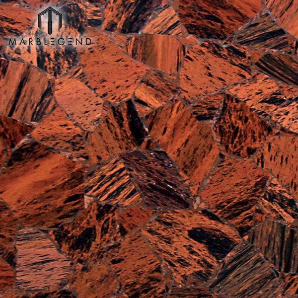 Роскошные полудрагоценные полудрагоценные камни яшмы Плитка из коричневого обсидиана с драгоценными камнями