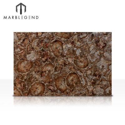 Backlit Semi Precious Jasper Stones Brown Petrified Wood Gemstone Slabs Tiles