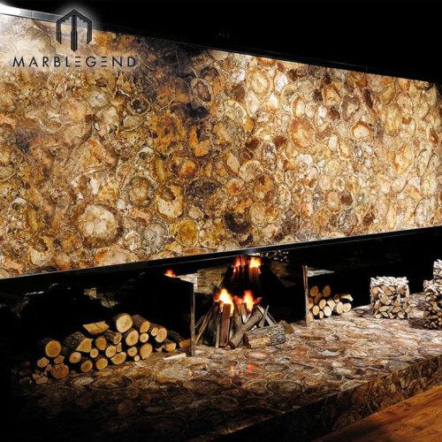 Backlit شبه الكريمة جاسبر الأحجار براون الخشب المتحجر أحجار كريمة بلاطات البلاط