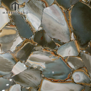 Natural Backlit Semi Precious Stones Desert Green Jasper Gemstone Slabs Tiles