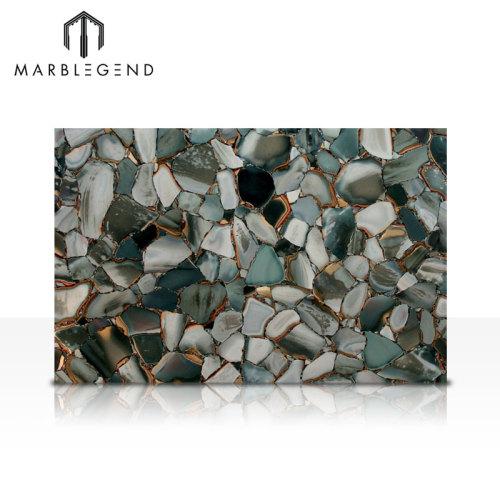 Piedras semipreciosas con retroiluminación natural Azulejos de losas de piedras preciosas de jaspe verde del desierto