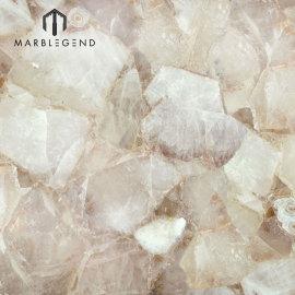 Losas y baldosas de piedra semipreciosas blancas con retroiluminación de cuarzo clásico