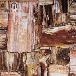 العتيقة الجدار الديكور الرجعية الخشب المتحجر جاسبر بلاطات شبه الكريمة حجر