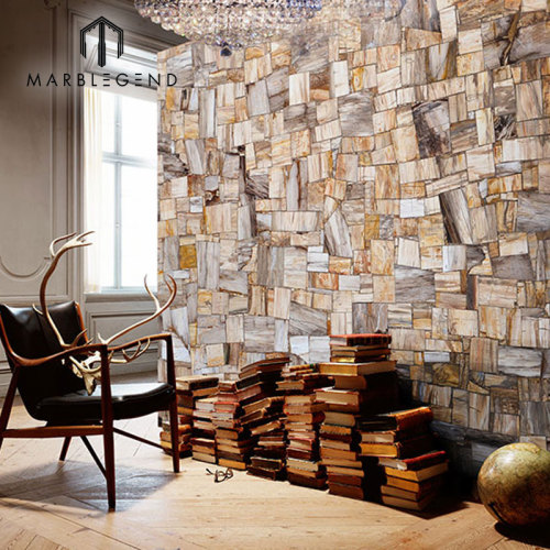 Antigua decoración de la pared de madera petrificada retro jaspe de losas piedra semi preciosa