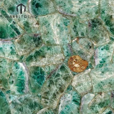 Green Stone Flooring Walling Tiles Emerald Fluorite Semiprecious Stone Quartz Tile