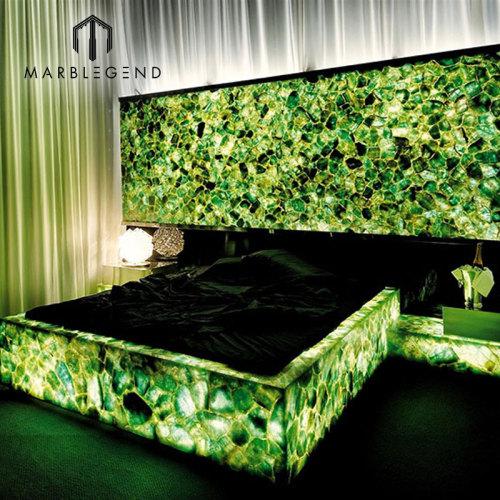 Baldosas de suelo de piedra verde Baldosas de cuarzo de piedra semipreciosa de fluorita esmeralda